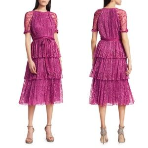ML Monique Lhuillier Lace Tiered Midi Dress